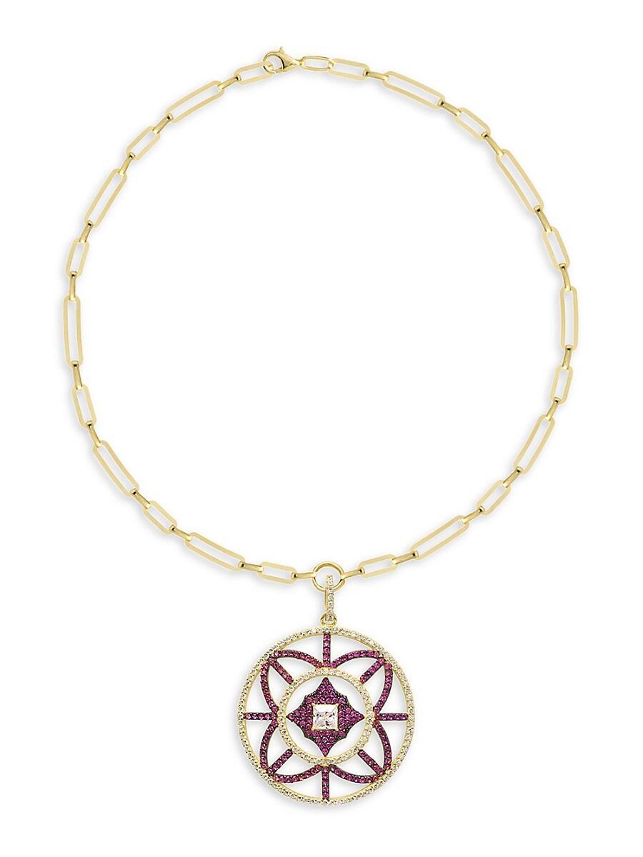 Women's 22K Gold Vermeil & Cubic Zirconia Be Loved Medallion Pendant Necklace