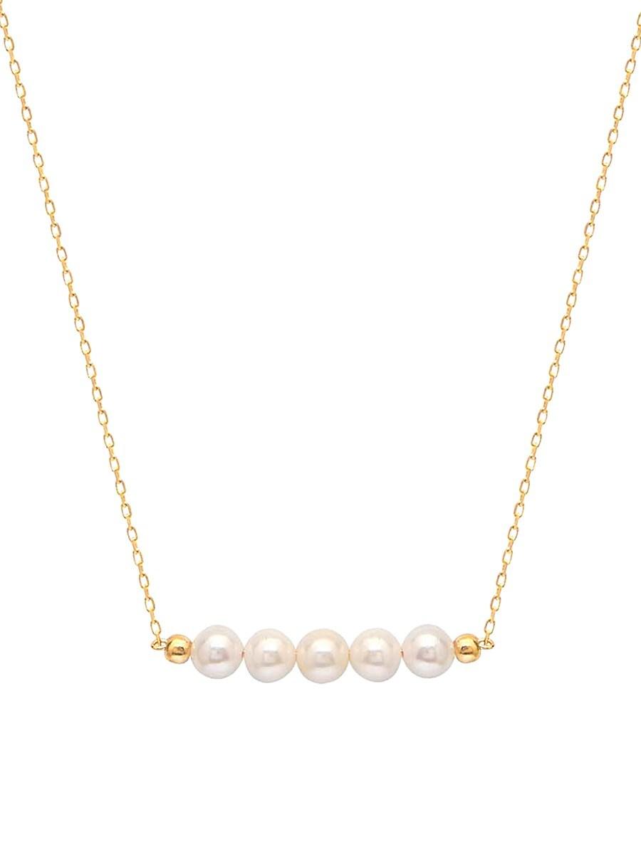 Women's 22K Gold Vermeil & 3MM-4MM Freshwater Pearl Bar Pendant Necklace