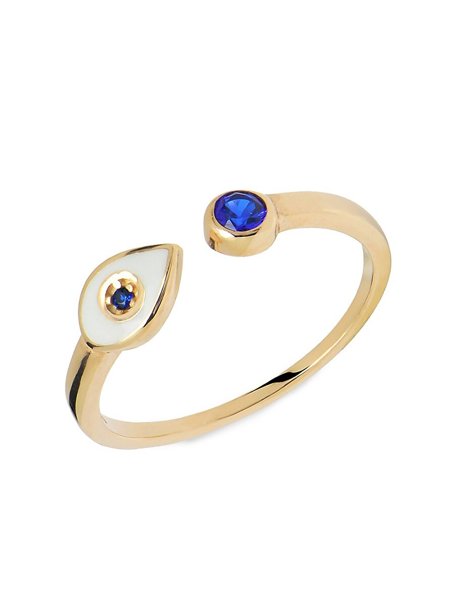 Women's 22K Goldplated & Blue Crystal Evil Eye Adjustable Ring