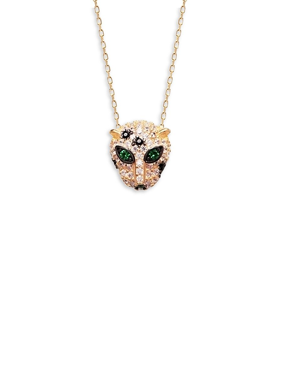 Women's 22K Goldplated & Crystal Panther Pendant Necklace