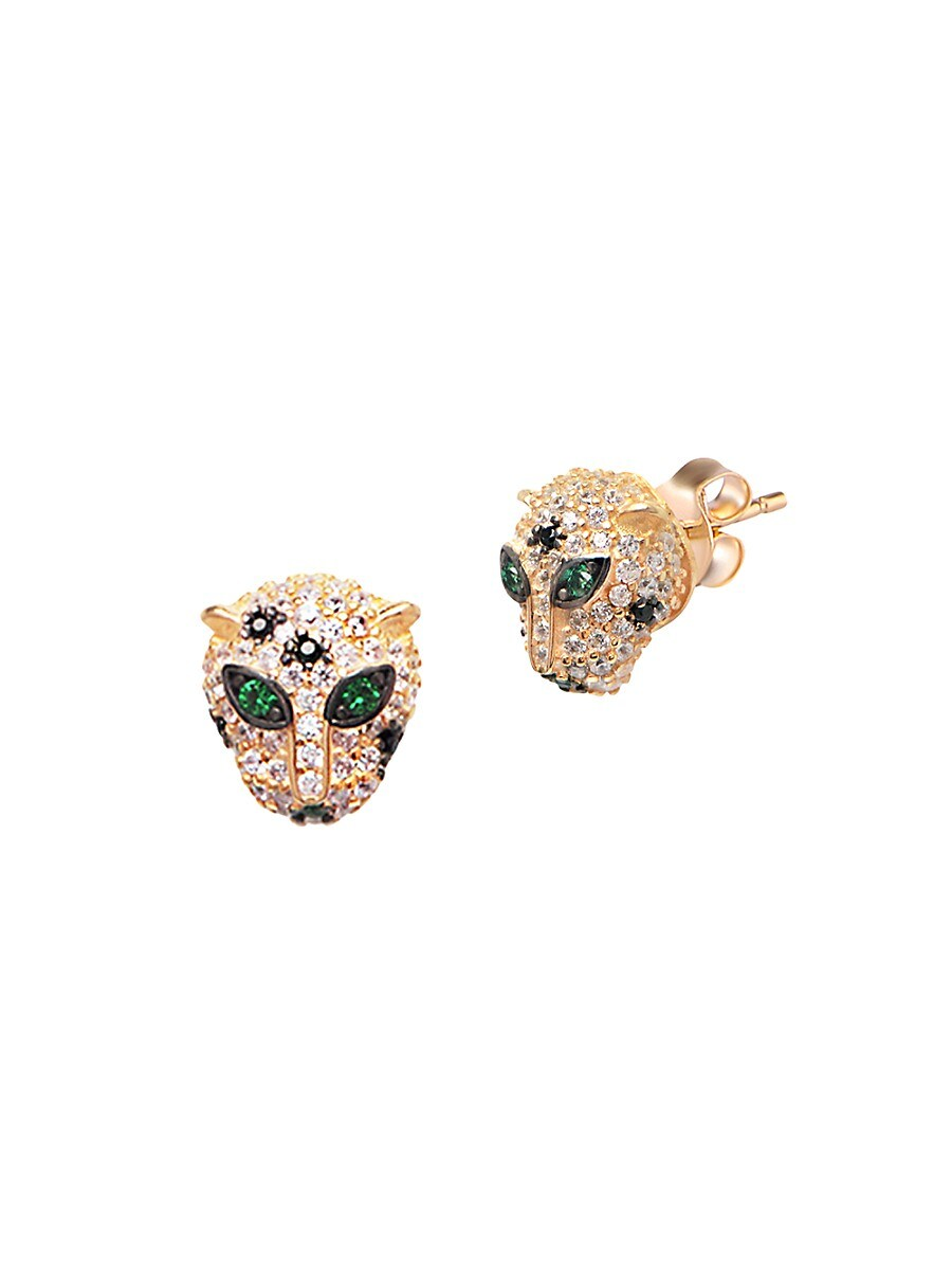 Women's 22K Goldplated Crystal Panther Stud Earrings