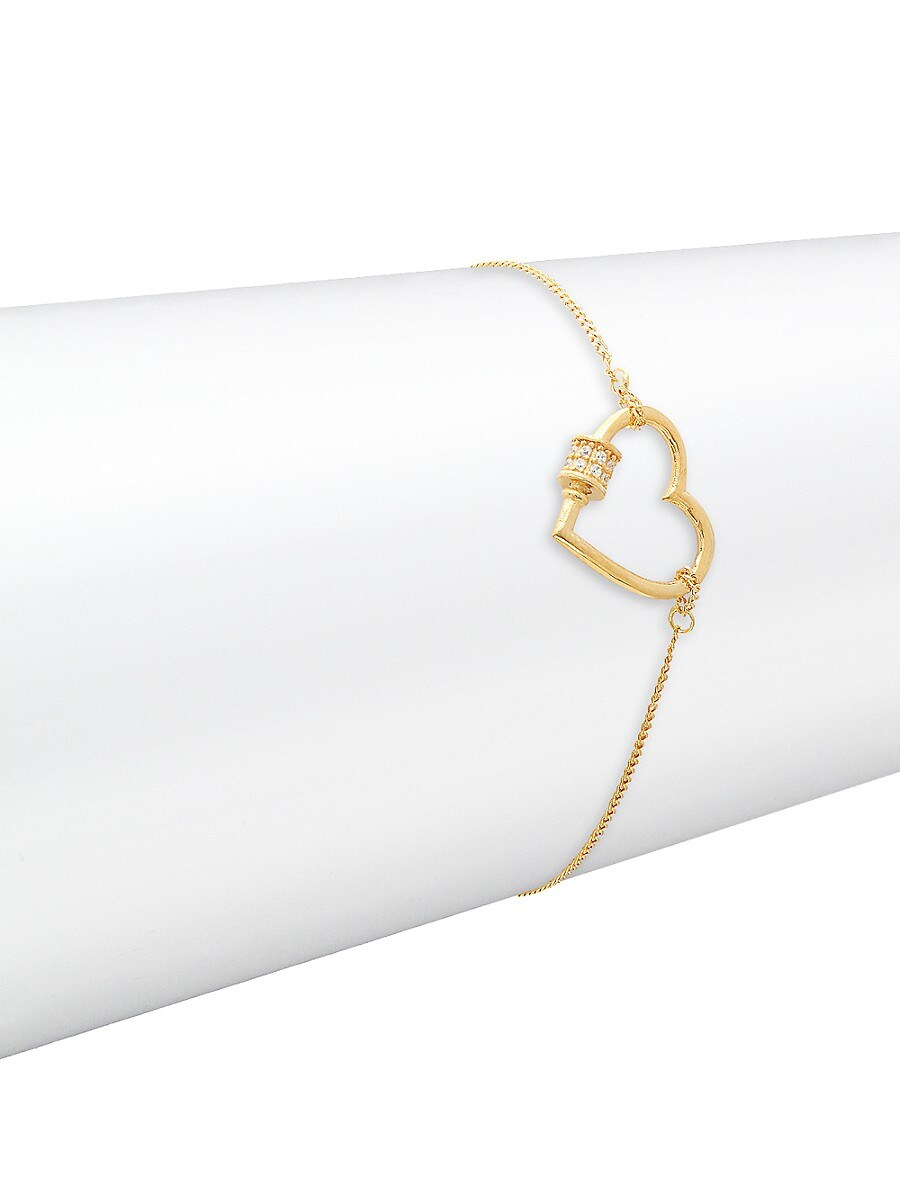 Women's 22K Gold Vermeil & Cubic Zirconia Heart Bracelet