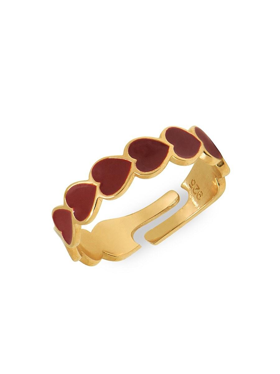 Women's 22K Goldplated Heart Adjustable Ring