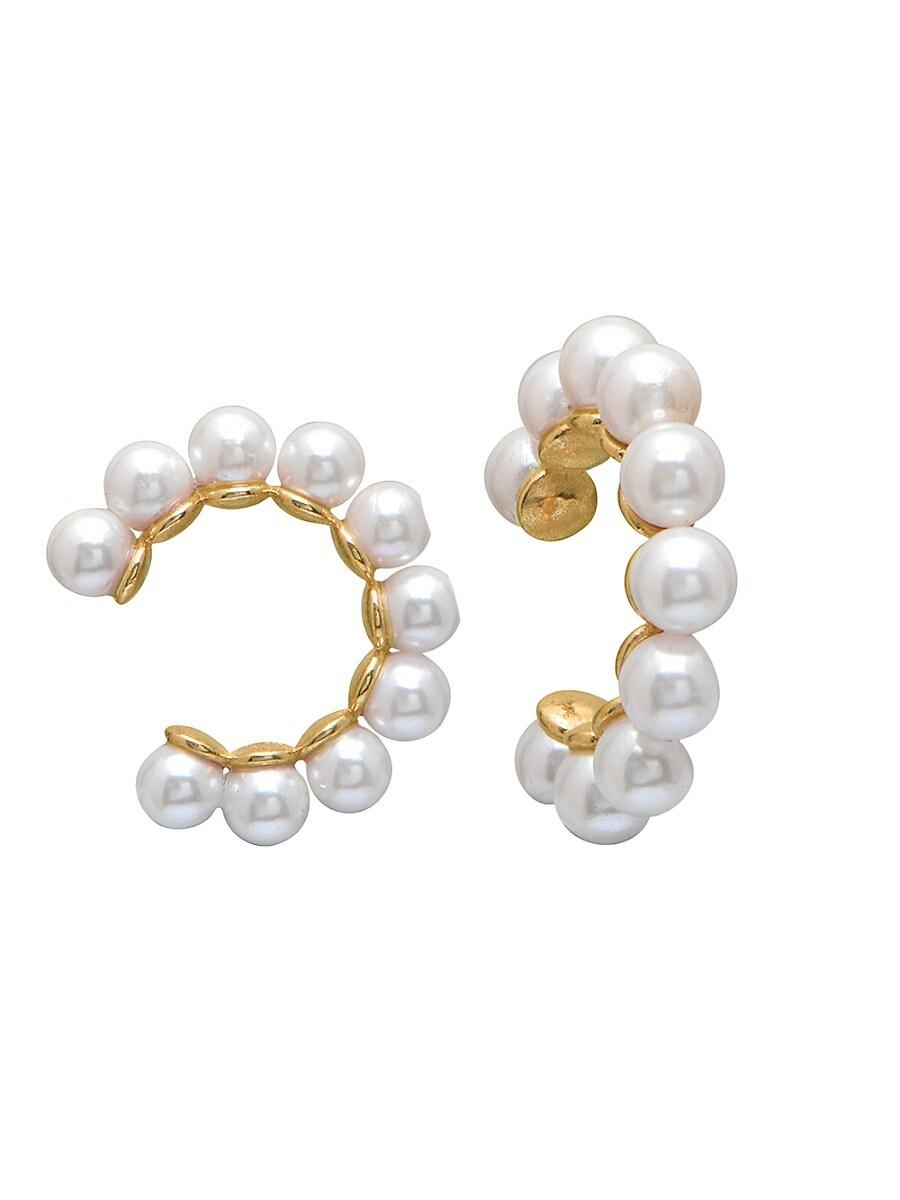 Women's 22K Gold Vermeil & 4MM Freshwater Pearl Ear Cuffs
