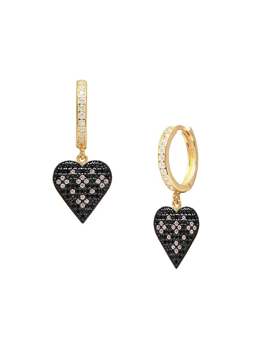 Women's 22K Gold Vermeil & Cubic Zirconia Heart Drop Earrings