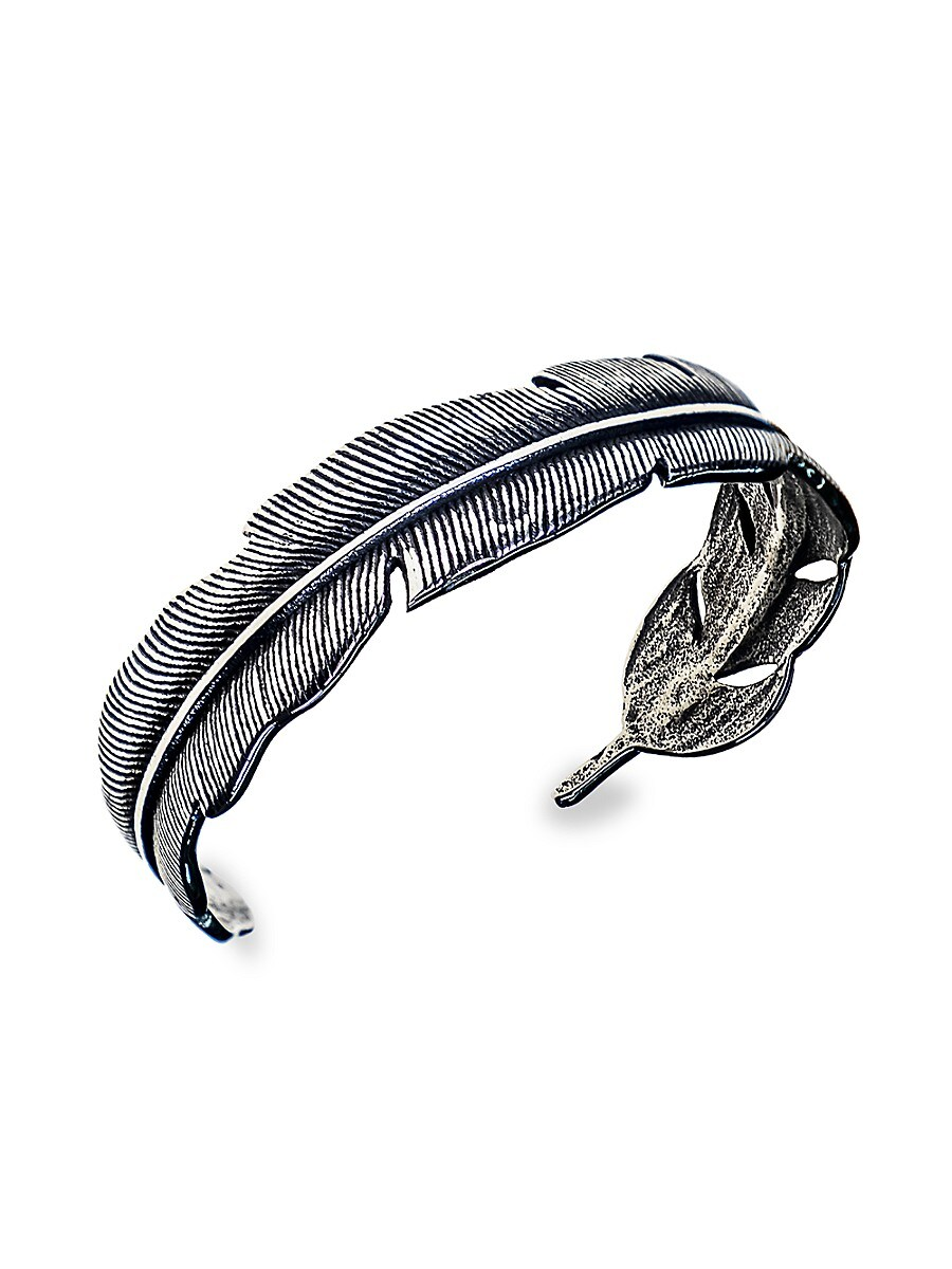 Men's Stainless Steel Holly Feather Bangle Bracelet