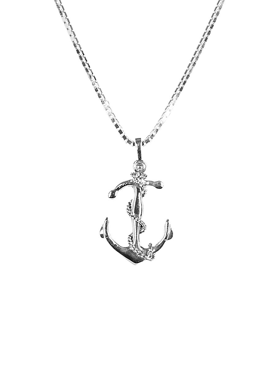 Men's Dell Arte Sterling Silver Good Luck Anchor Pendant Necklace
