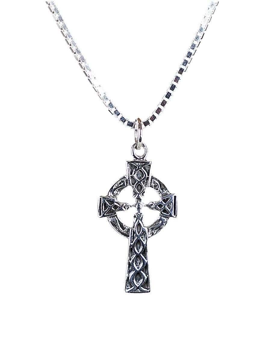 Men's Dell Arte Sterling Silver Celtic Cross Pendant Necklace