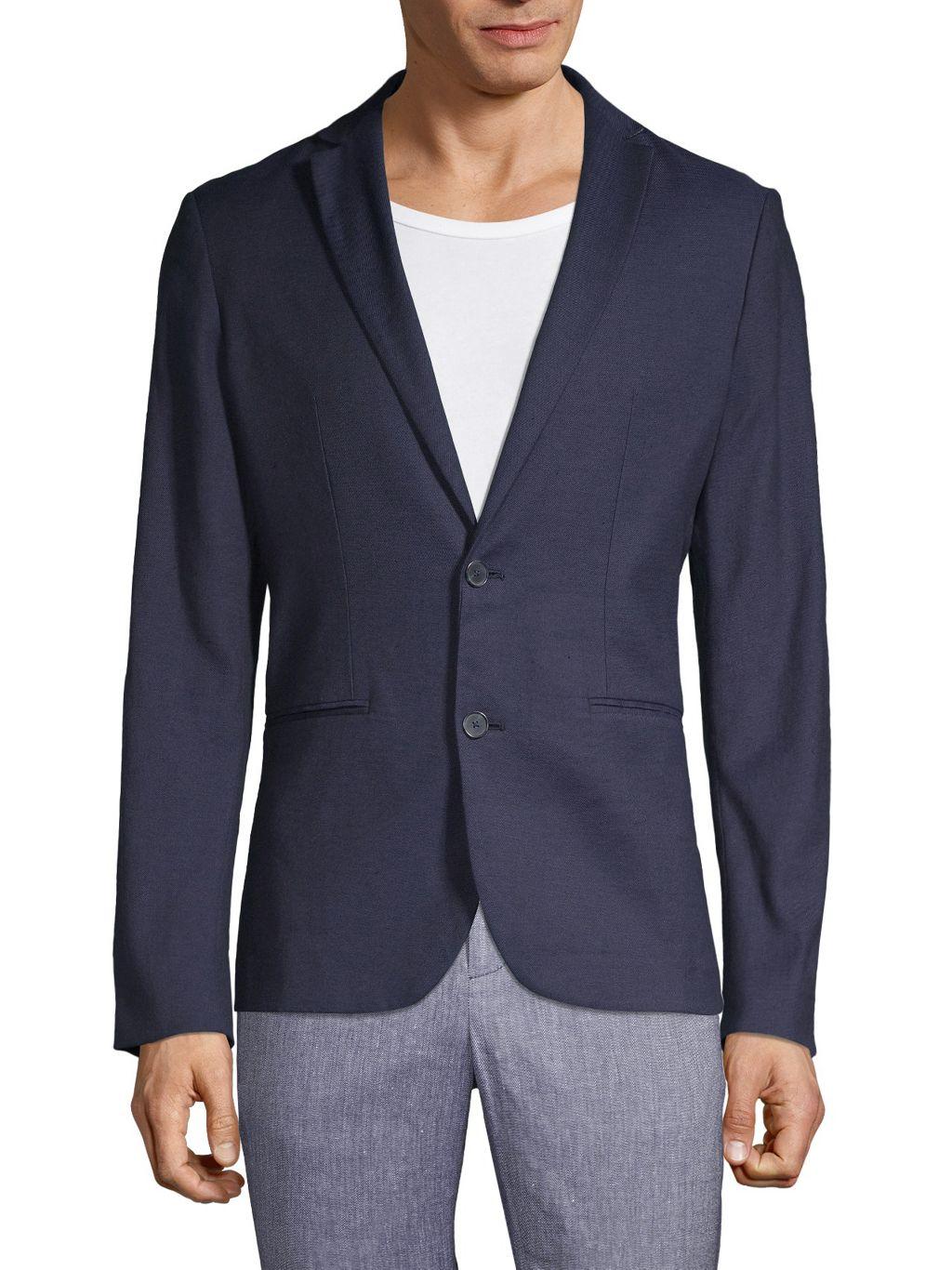 Pure Navy Standard-Fit Linen-Blend Blazer