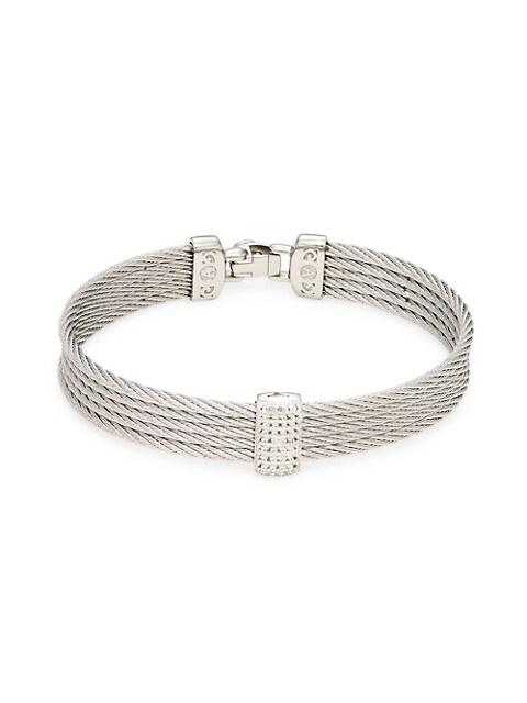 Alor 14K White Gold Stainless Steel & White Topaz Rope Bangle Bracelet