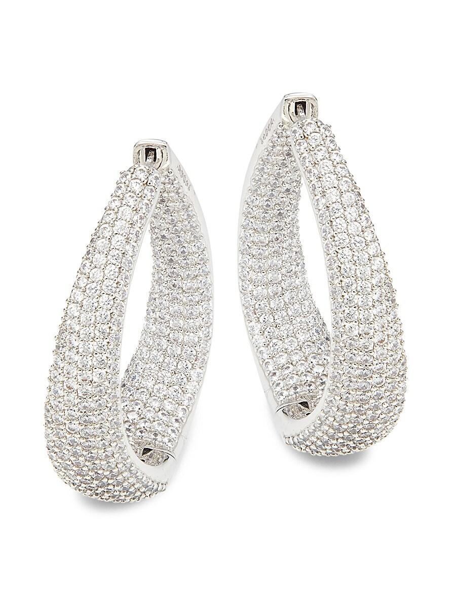 Women's Rhodium-Plated & Crystal Twist Hoop Earrings