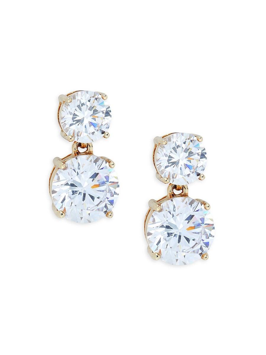 Women's Goldplated Sterling Silver & Cubic Zirconia Double Stud Earrings