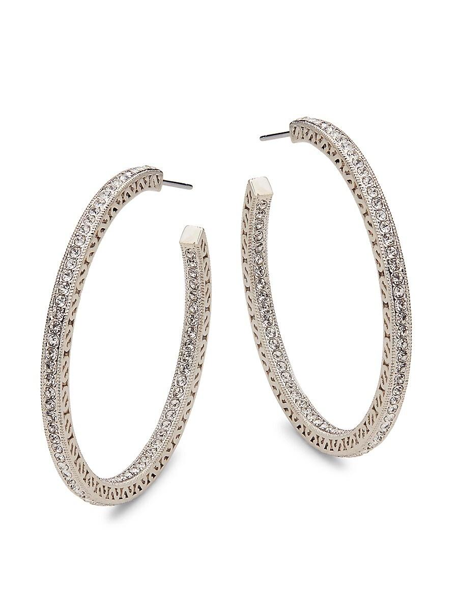 Women's White Rhodium-Plated & Crystal C-Hoop Earrings