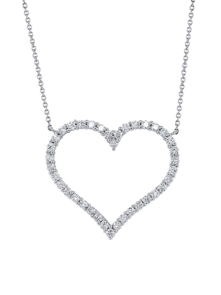 Women's 14K White Gold & 1.00 TCW Diamond Heart Pendant Necklace