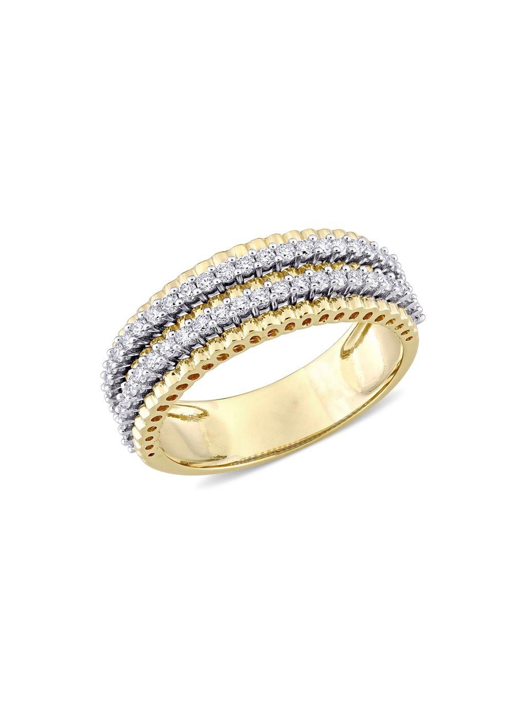 Saks Fifth Avenue 14K Two-Tone Gold & White Diamond Anniversary Ring