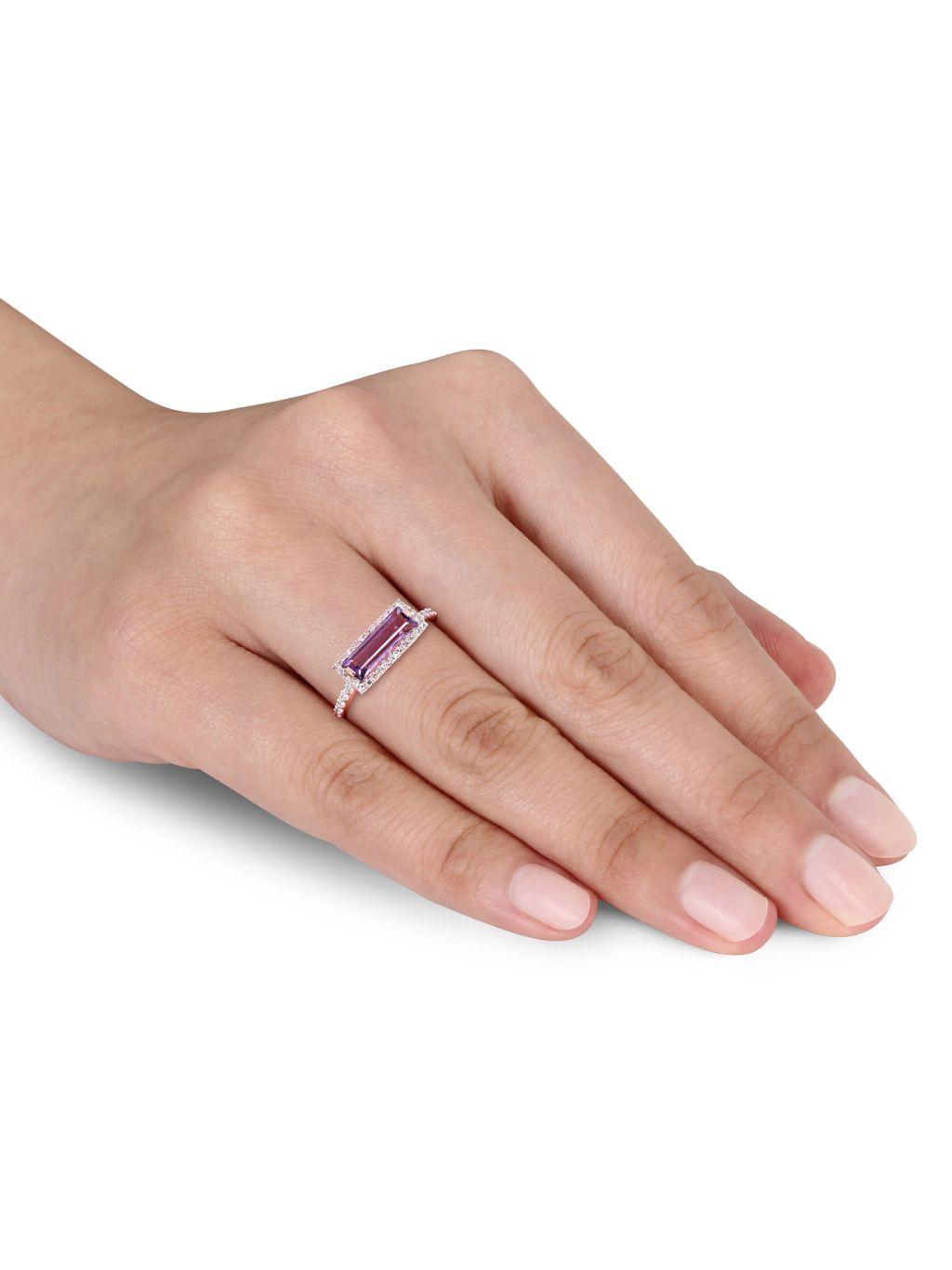 Saks Fifth Avenue 14K Rose Gold, Amethyst & Diamond Ring