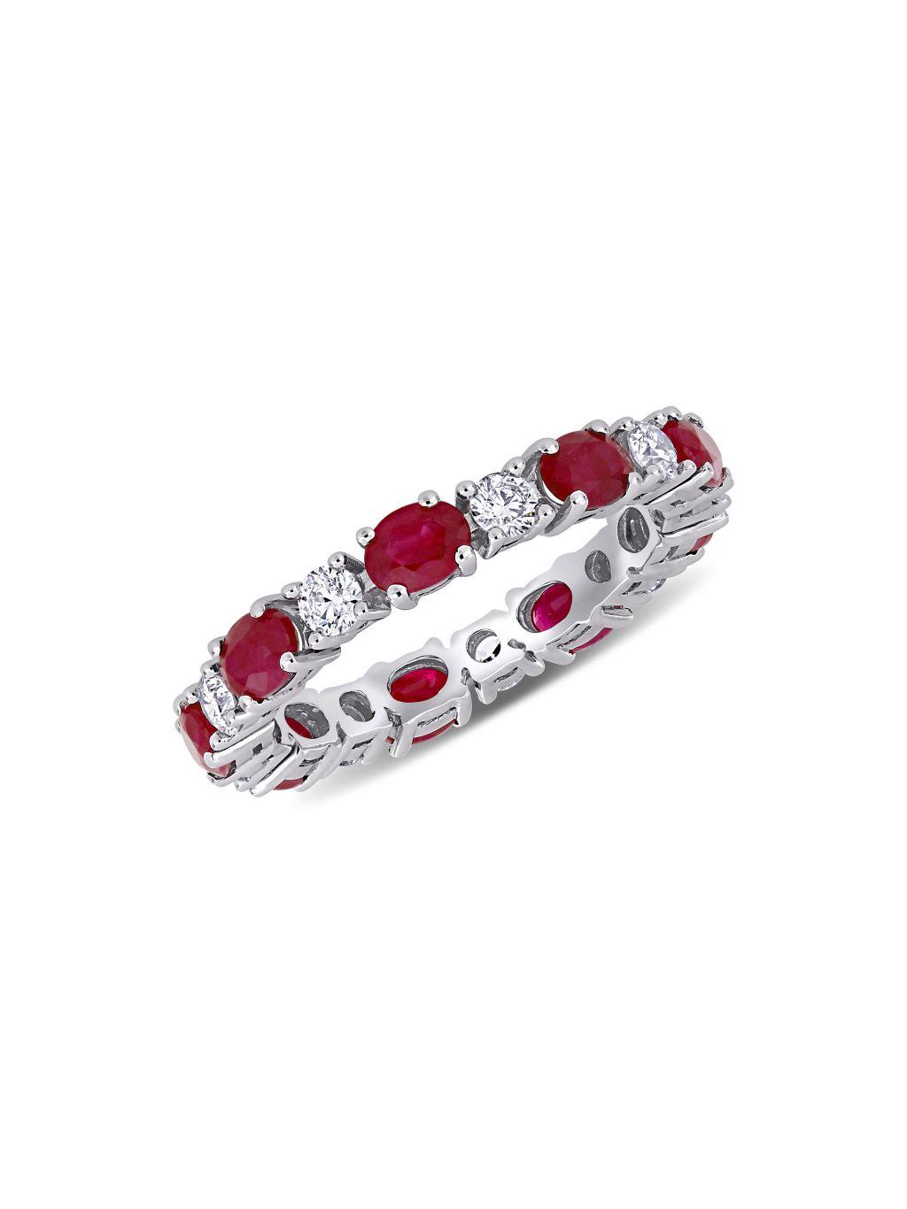 Saks Fifth Avenue 14K White Gold, Ruby & Diamond Ring