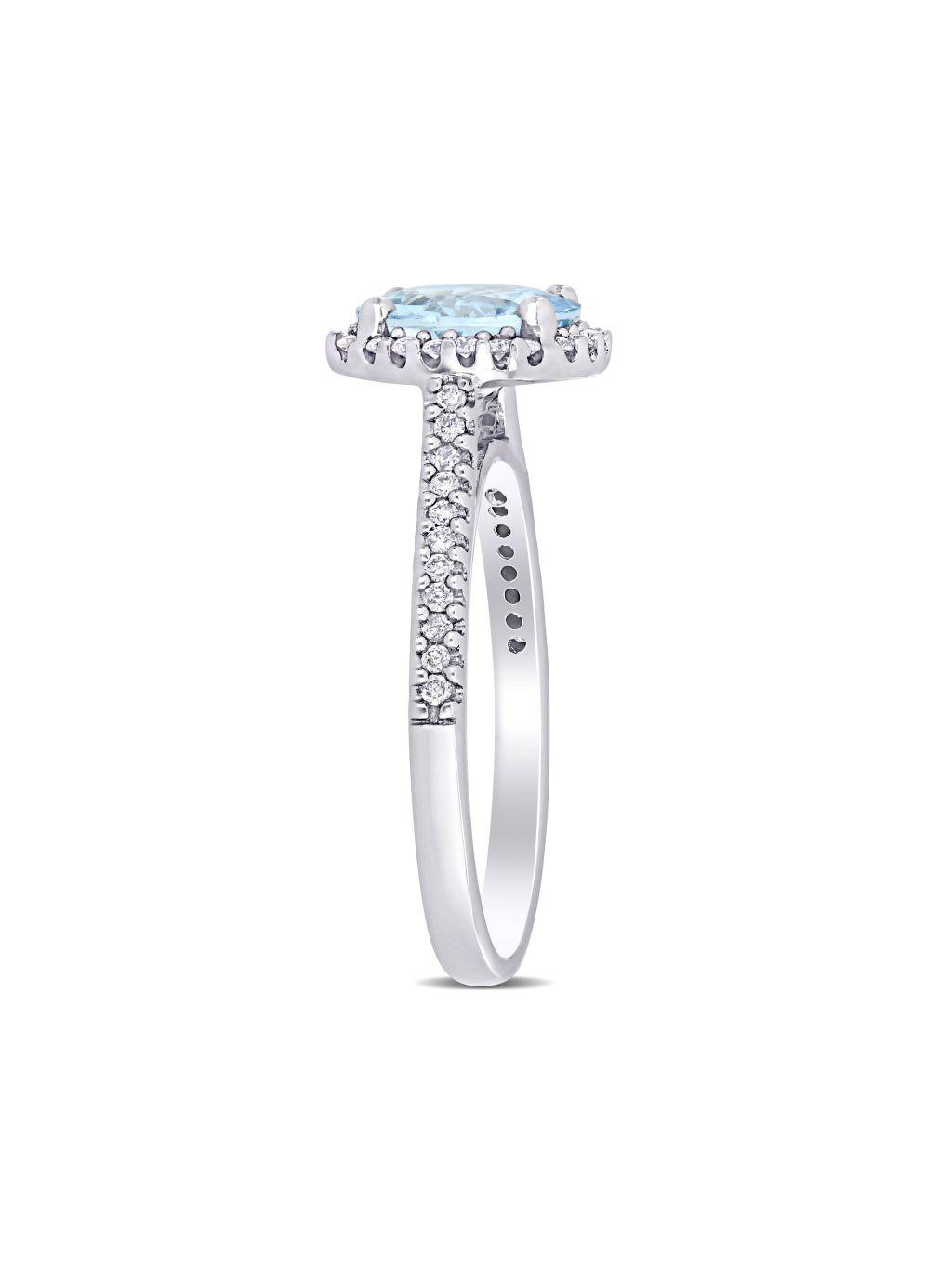 Saks Fifth Avenue 14K White Gold, Aquamarine & Diamond Halo Engagement Ring