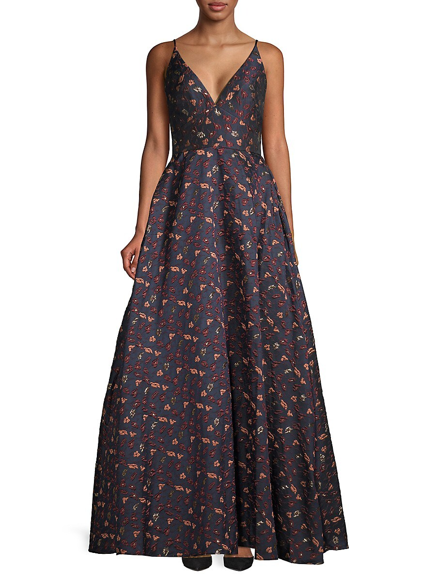 Women's Floral Embroidered Fit-&-Flare Gown