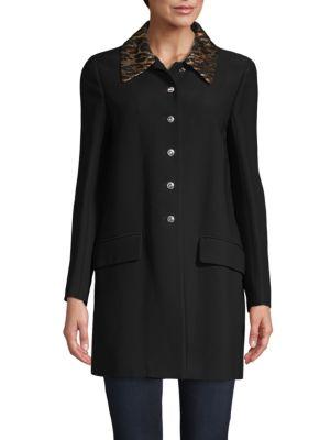 Miu Miu Leopard-Print Spread Collar Coat