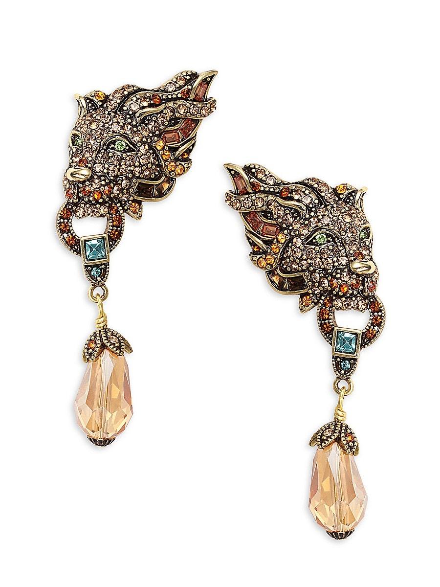 Women's Goldtone & Crystal Lion Earrings