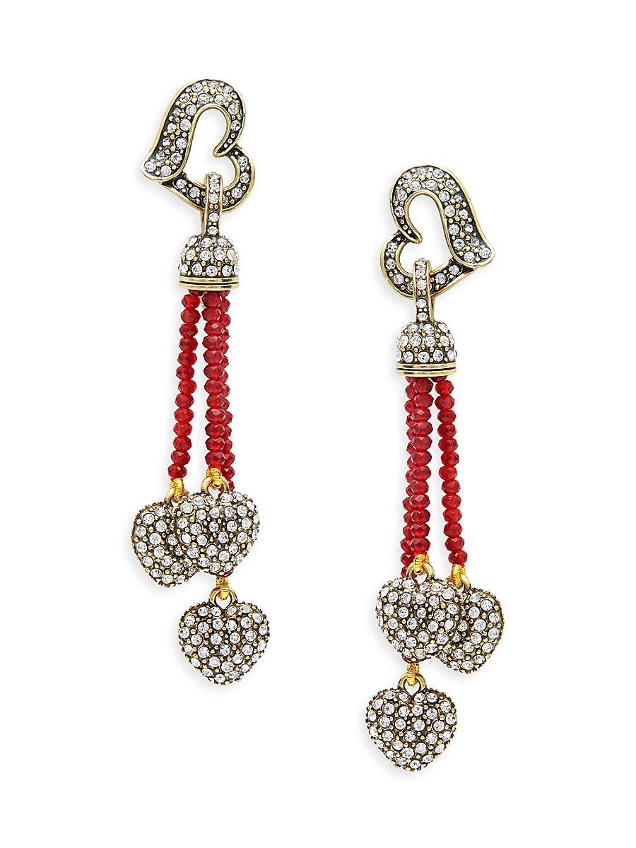 Women's Goldtone & Crystal Beaded Heart Drop Earrings