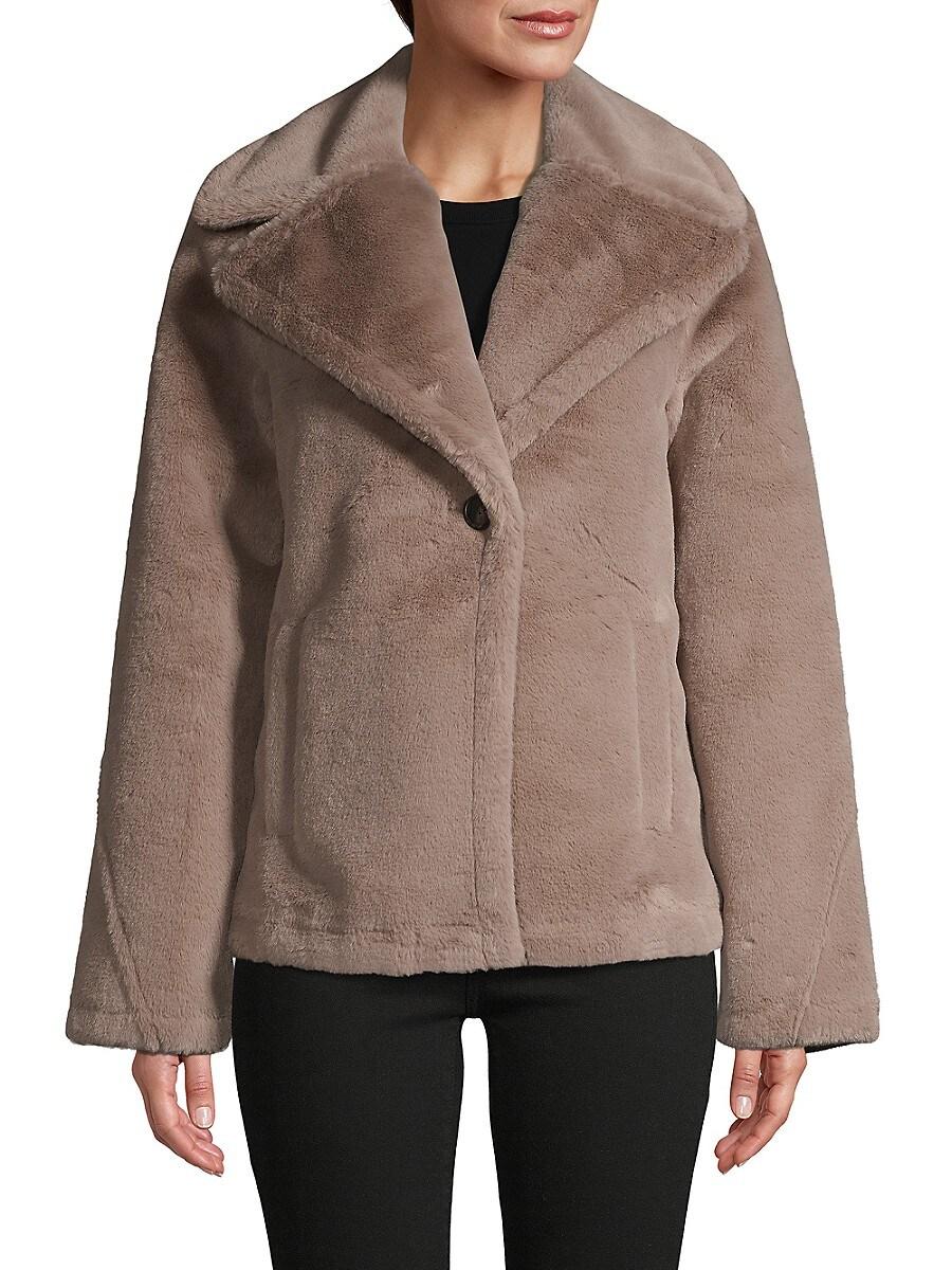 Women's Faux Fur Single-Button Jacket