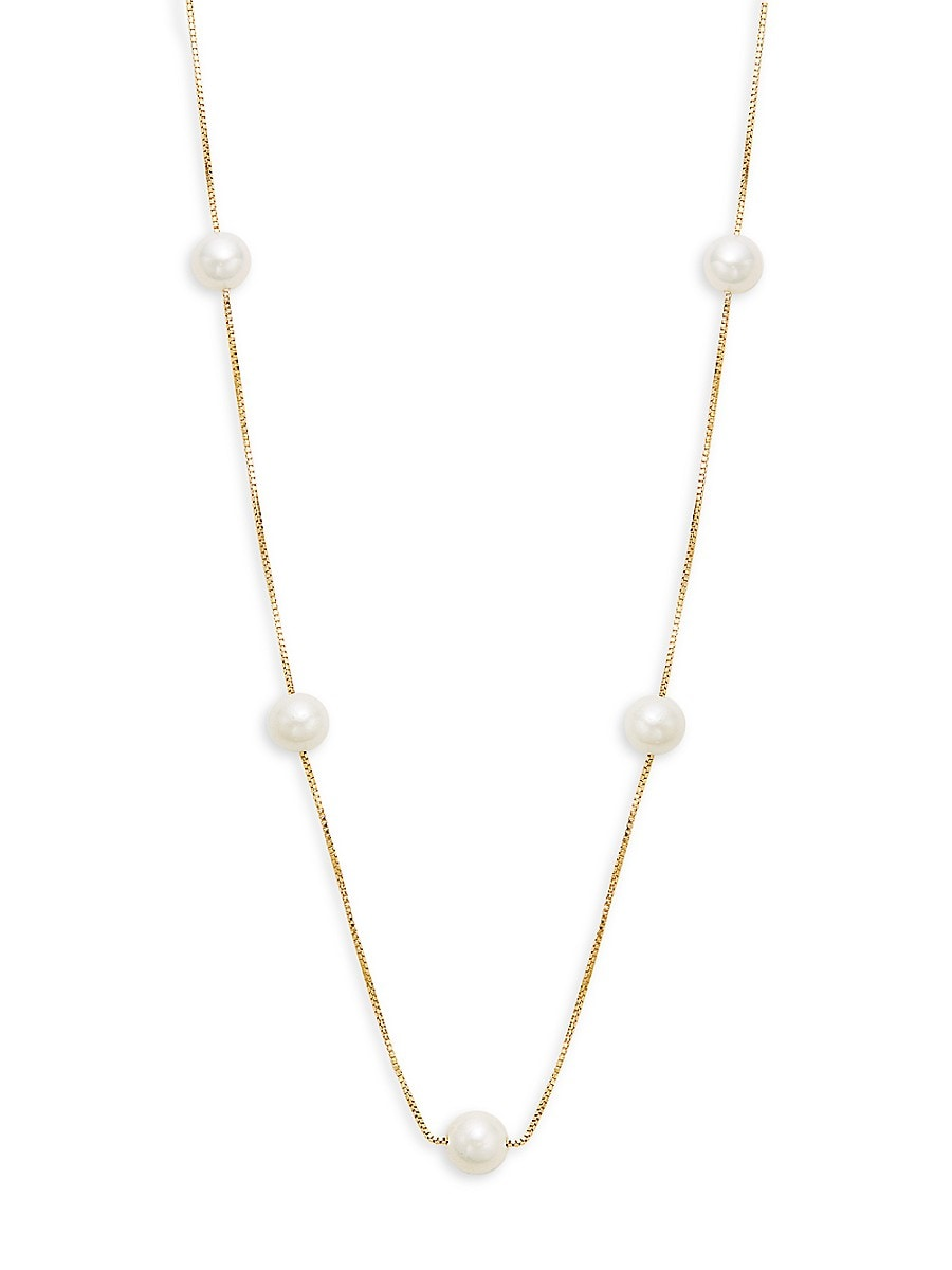 Women's 14K Yellow Gold & Freshwater Pearl Station Necklace