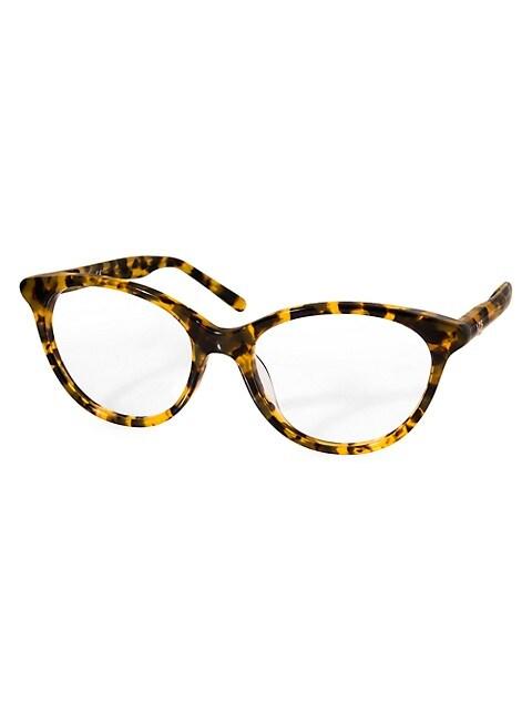 AQS Jane 53MM Faux Tortoiseshell Round Optical Glasses