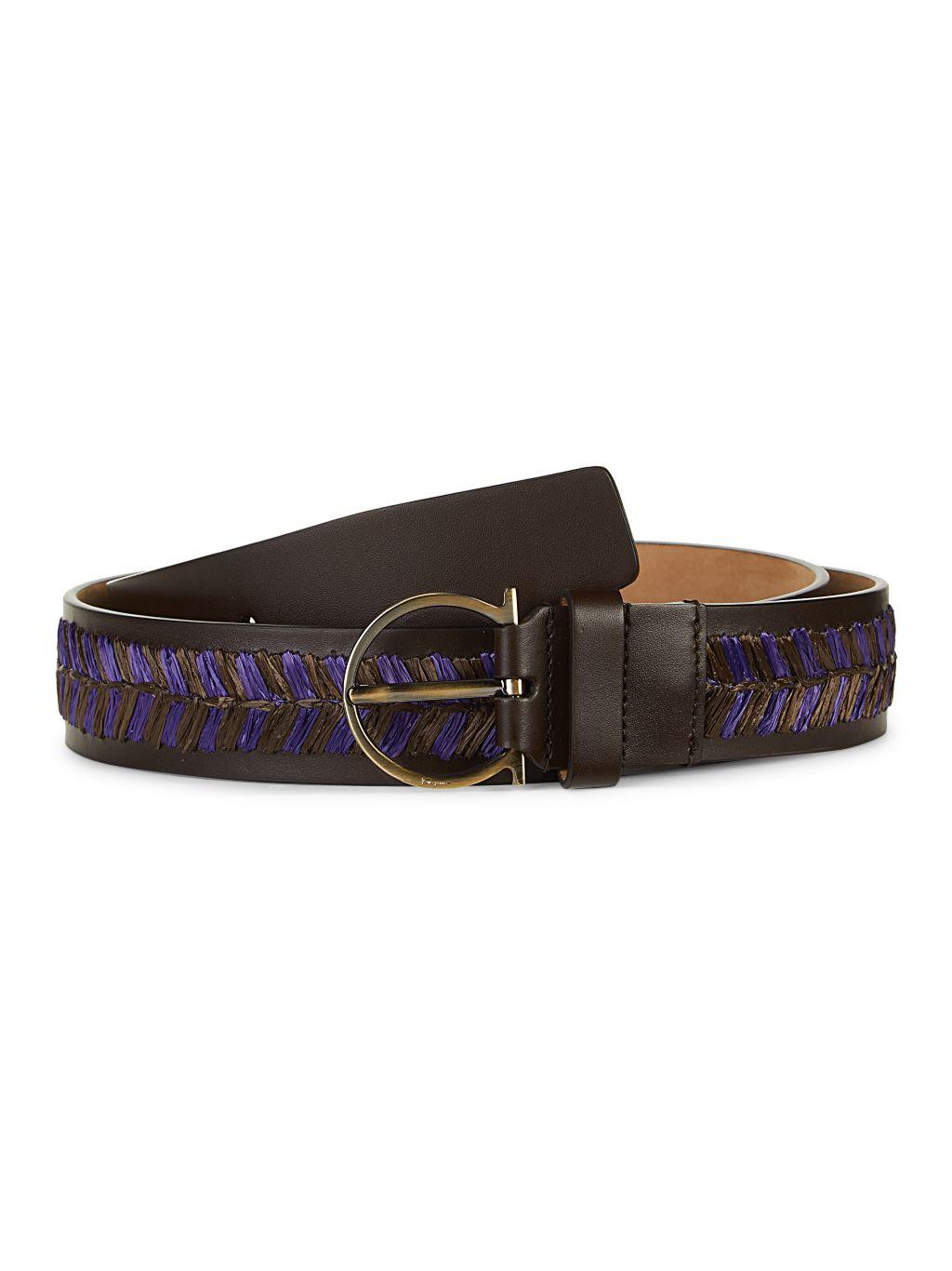 Salvatore Ferragamo Leather & Raffia Belt