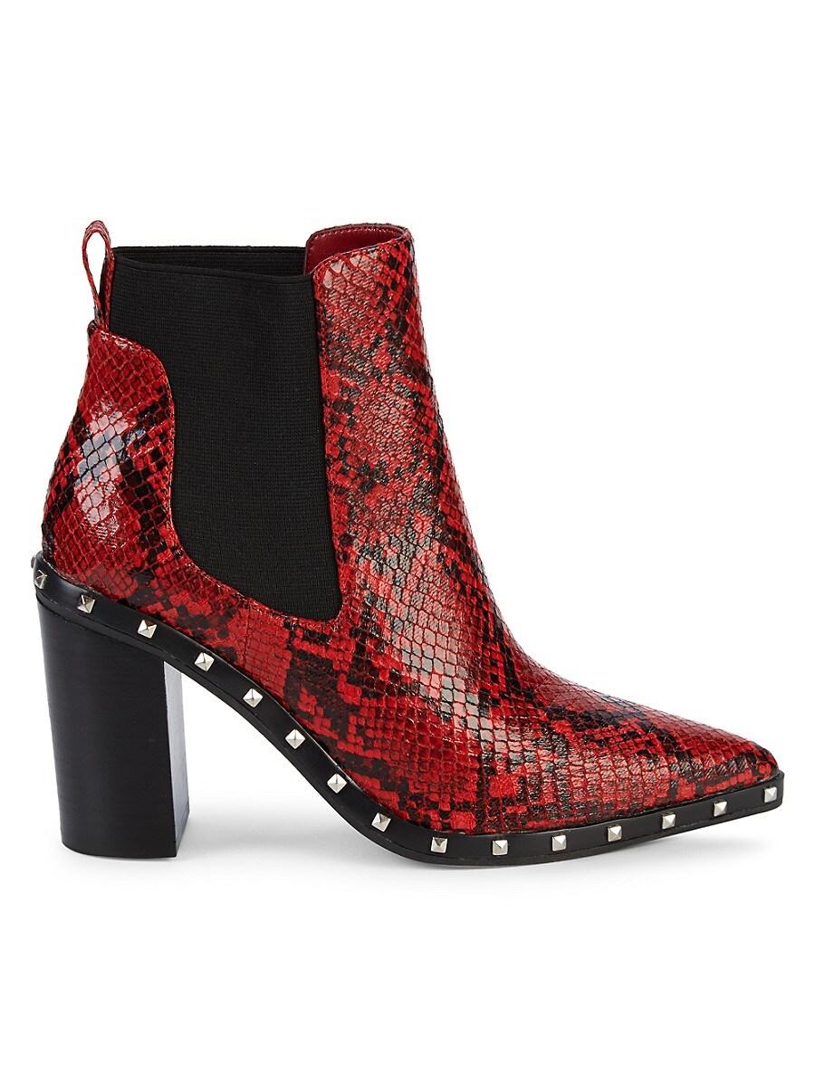 Women's Dodger Studded Snakeskin-Print Chelsea Boots