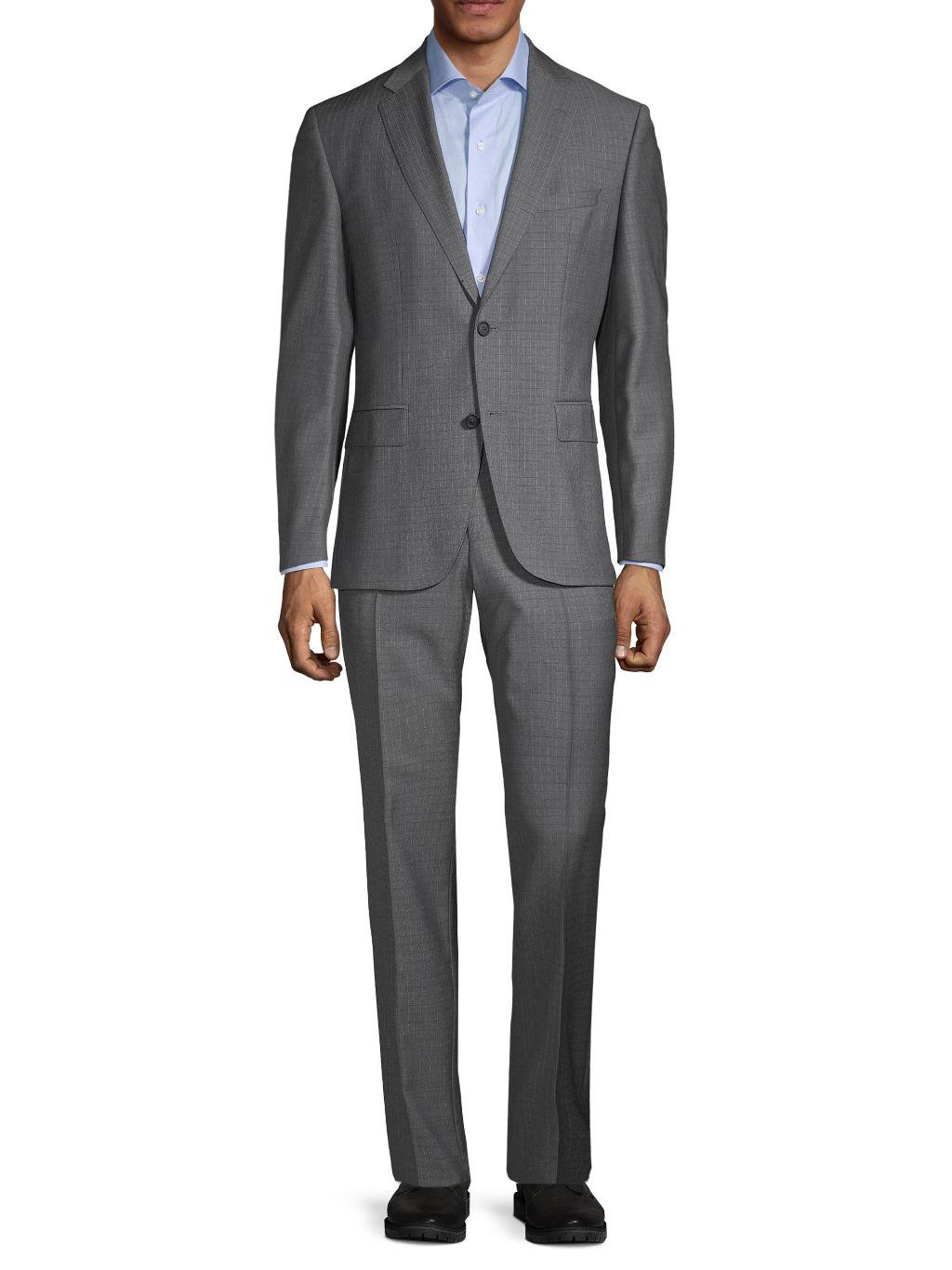 Boss Hugo Boss Regular-Fit Lanifico Tesse Biella Grid Wool Suit