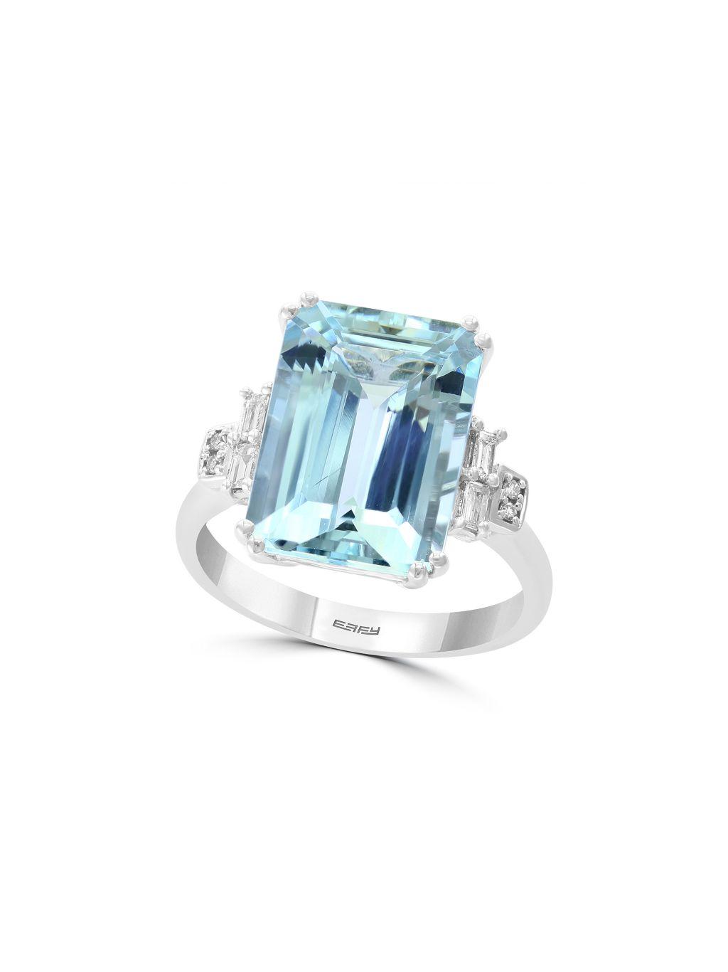 Effy 14K White Gold, Aquamarine & Diamond Solitaire Ring
