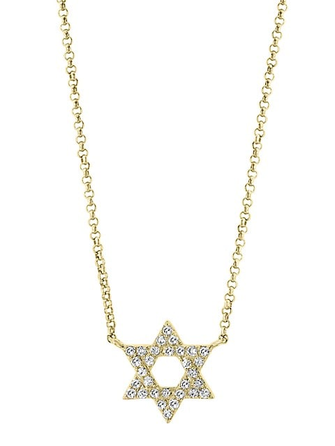 Effy 14K Yellow Gold and Diamonds Star Pendant Necklace