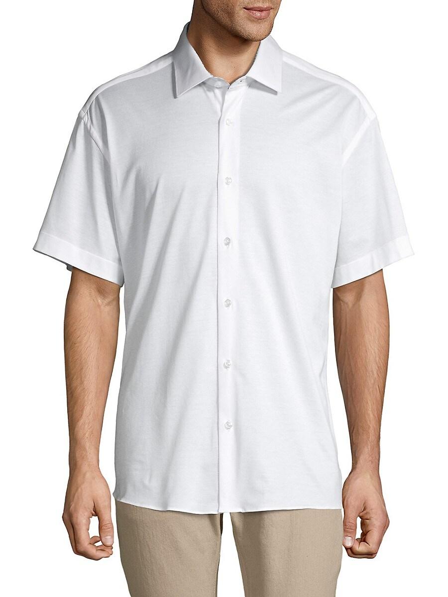Solid Cotton Short-Sleeve Shirt
