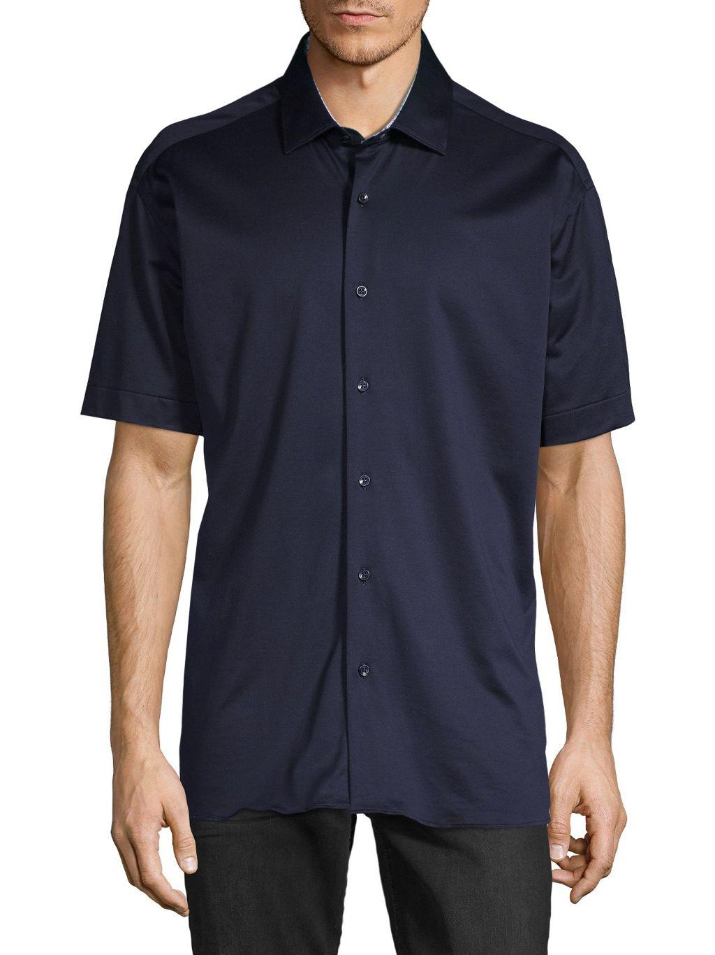 Bertigo Solid Cotton Short-Sleeve Shirt