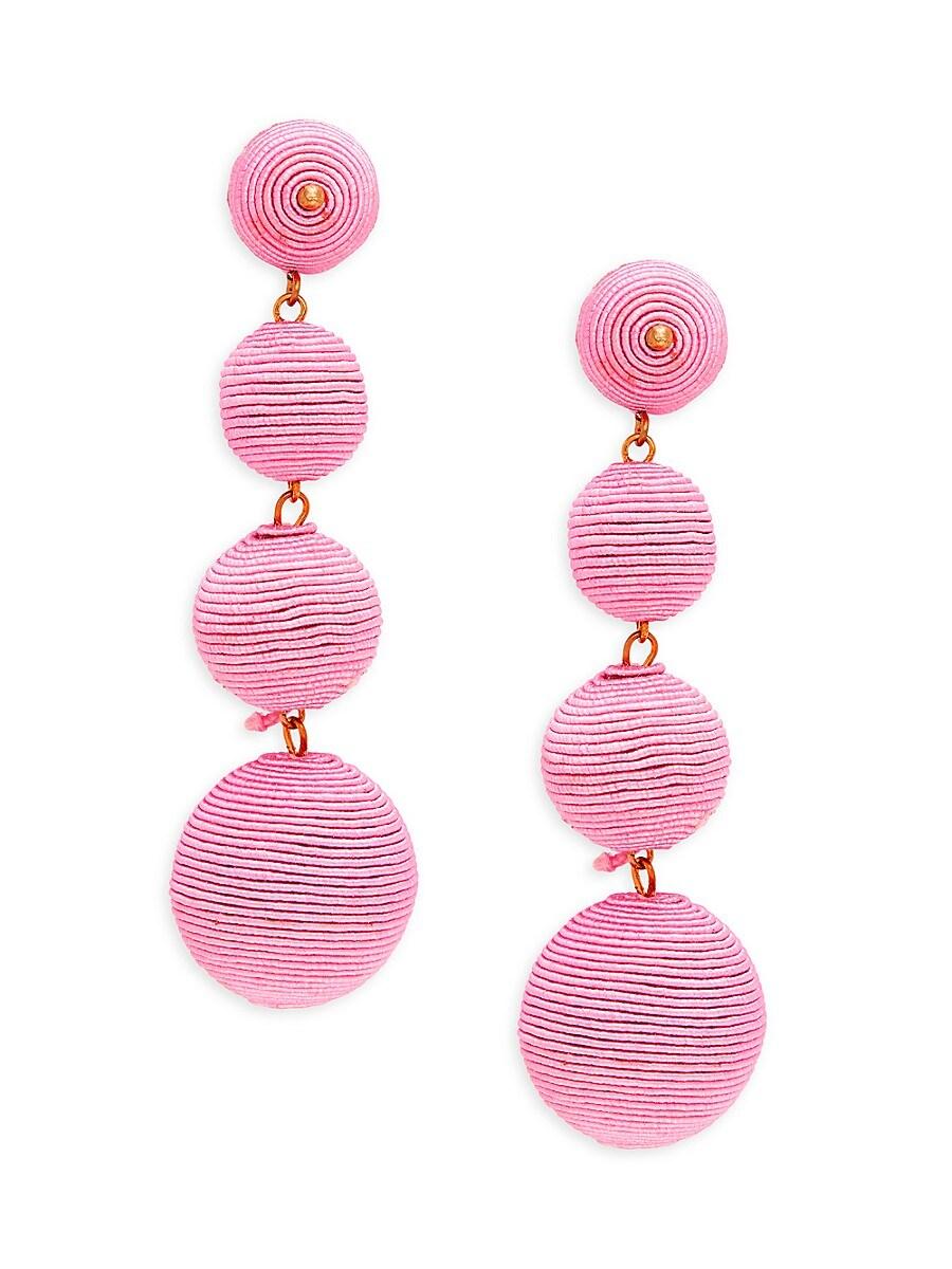 Women's Thread-Wrapped Ball Linear Earrings