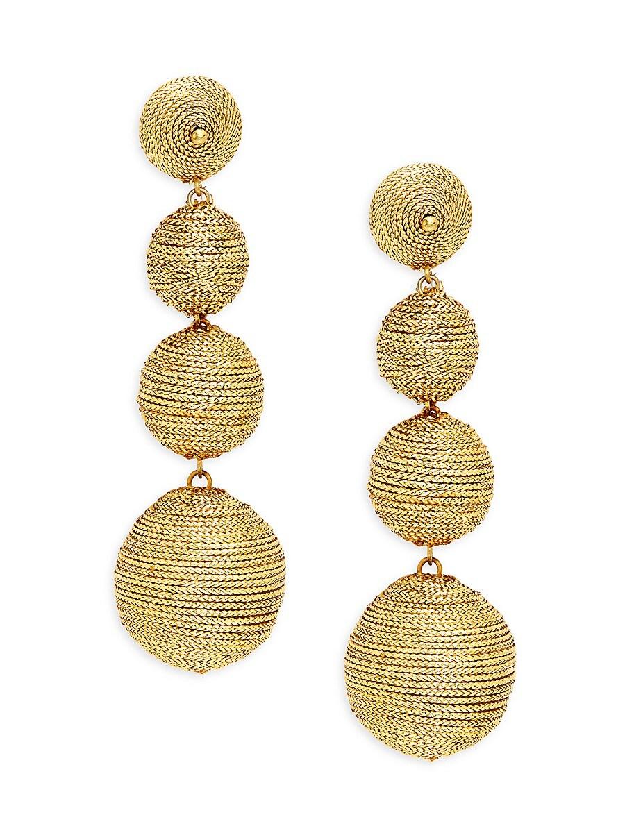 Women's Metallic Thread-Wrapped Ball Linear Earrings