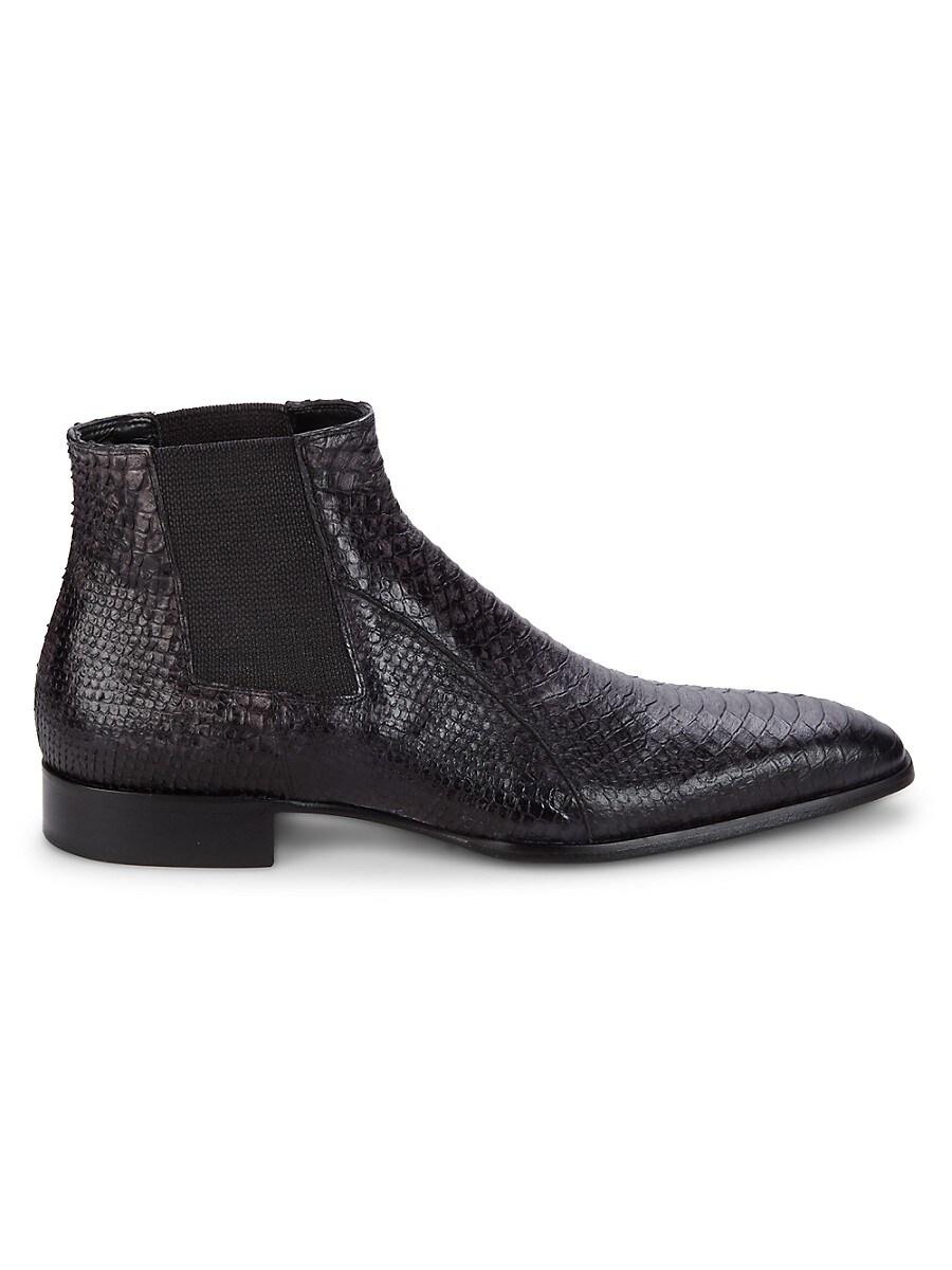 Men's Snakeskin-Embossed Leather Chukka Boots