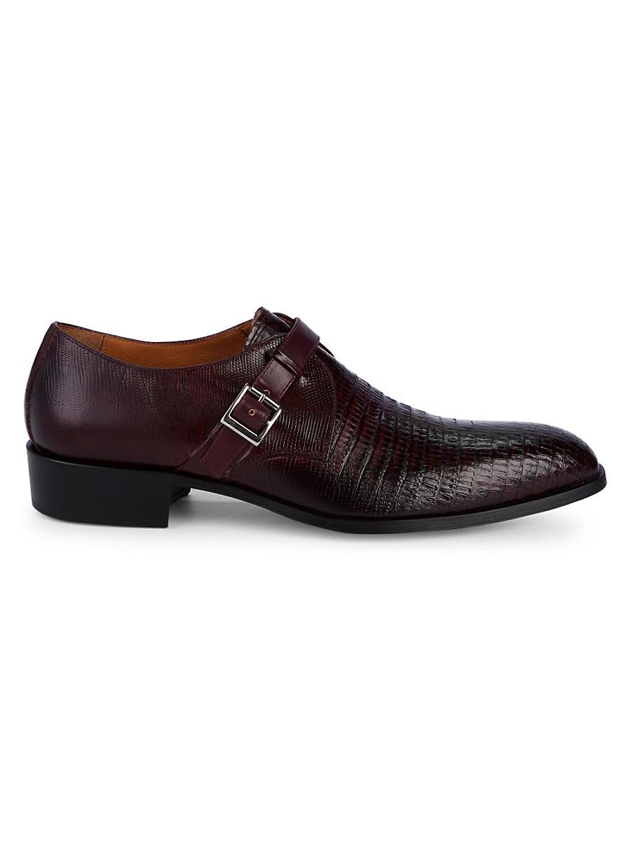 Jo Ghost Men's Lizard-Embossed Leather Monk-Strap Shoes - Burgundy - Size 7.5