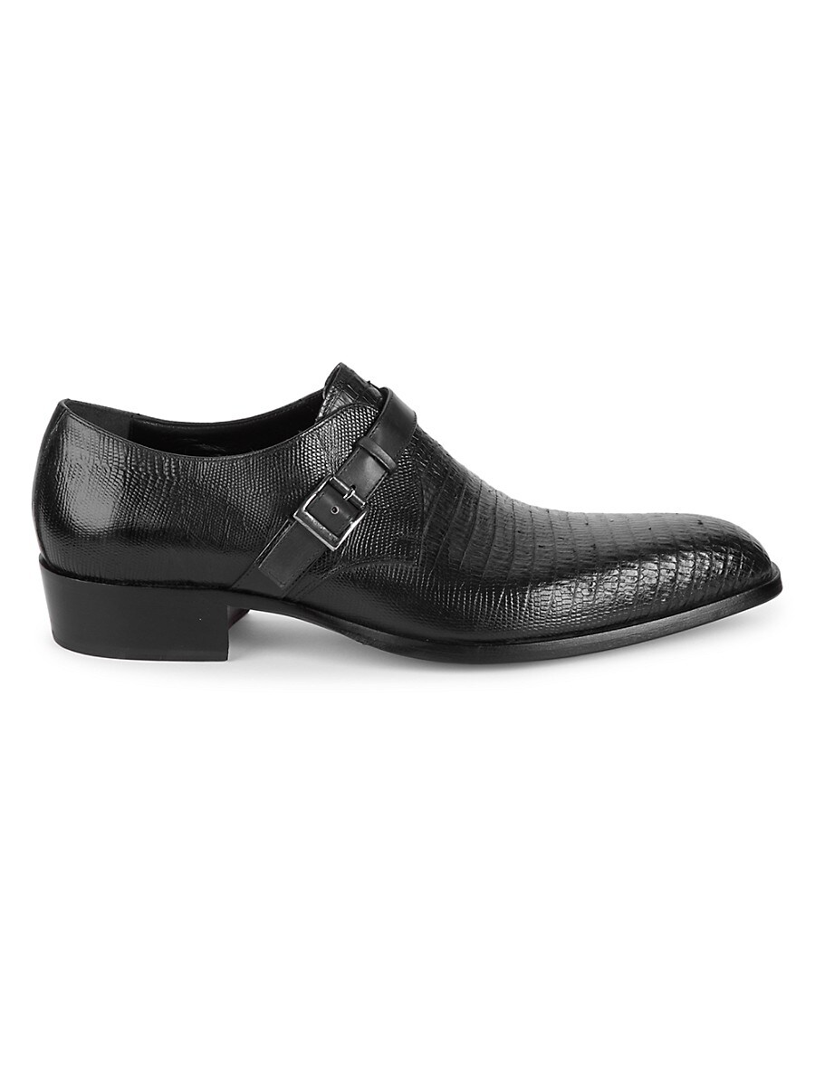 Men's Lizard-Embossed Leather Monk-Strap Shoes