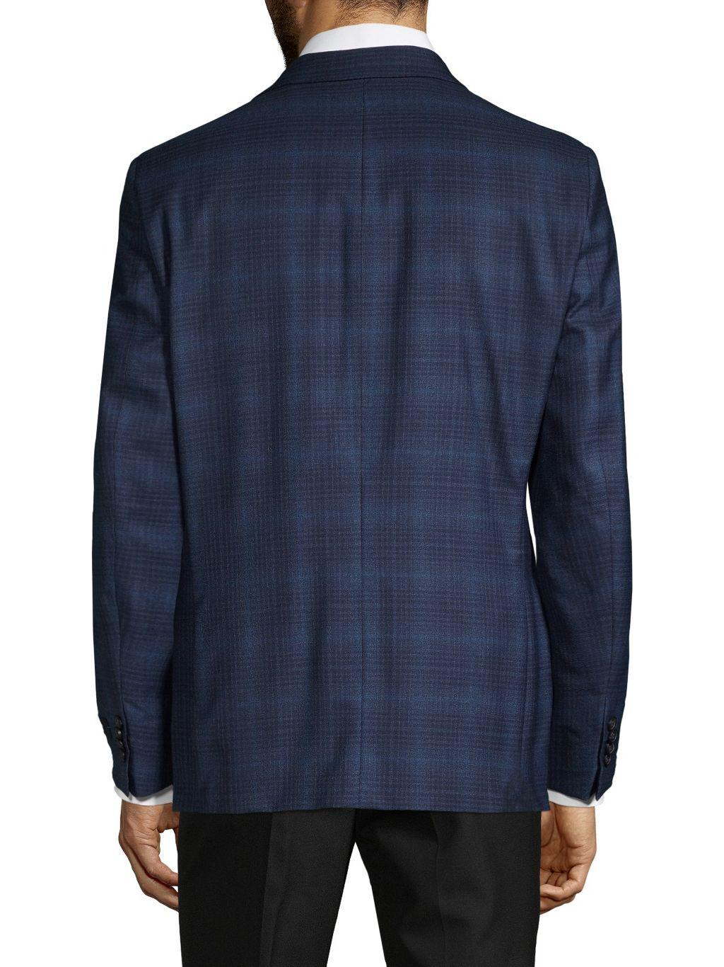 Tommy Hilfiger Stretch-Fit Plaid Wool-Blend Sportcoat