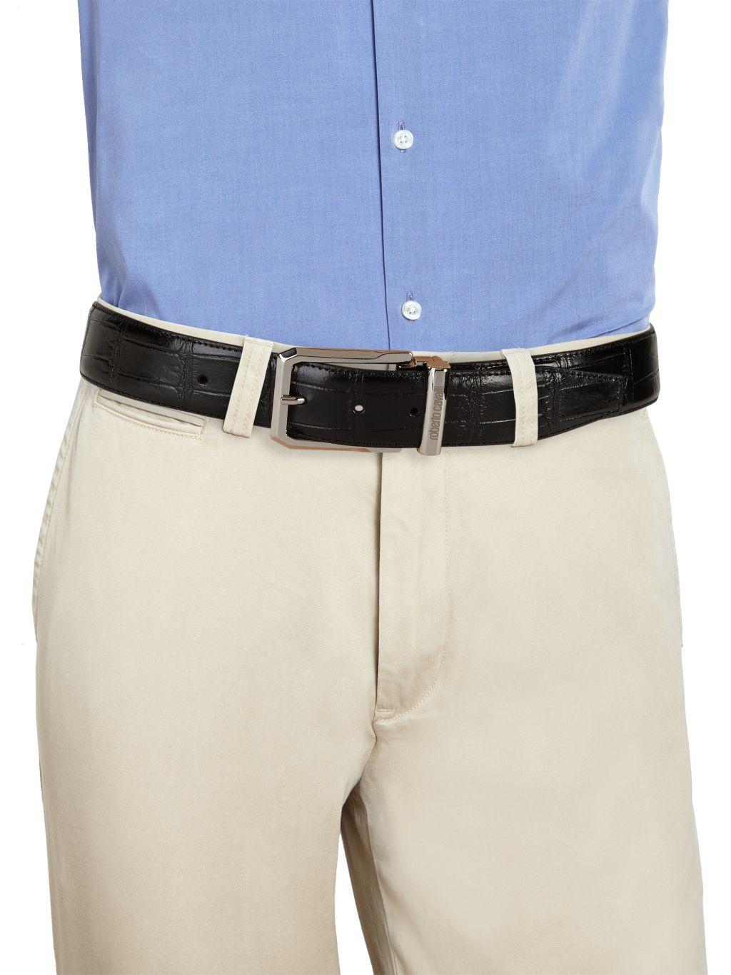 Roberto Cavalli Croc-Embossed Leather Belt