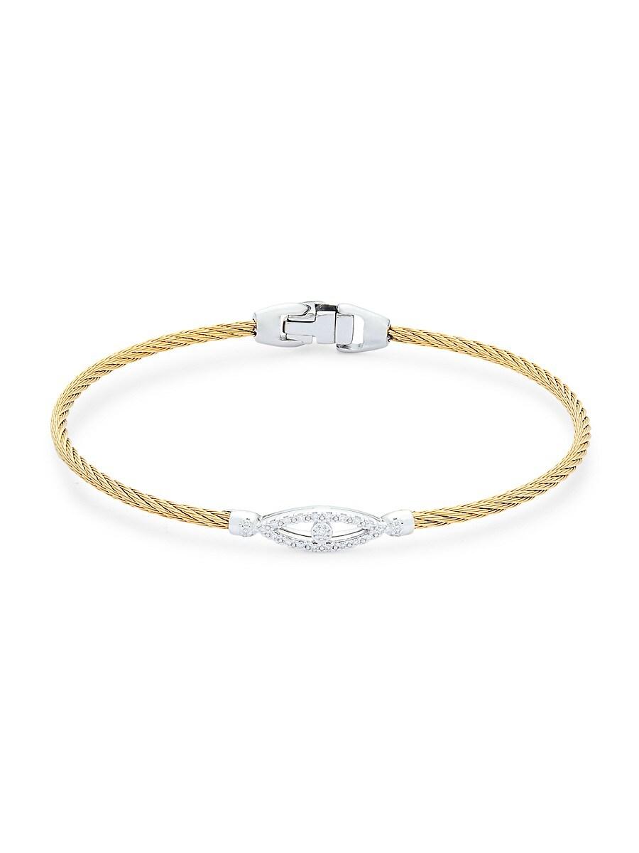 Women's 18K White Gold & Stainless Steel Diamond Evil Eye Rope Bracelet