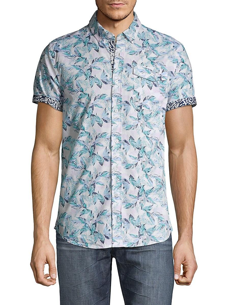 Men's Slim-Fit Leaf-Print Shirt