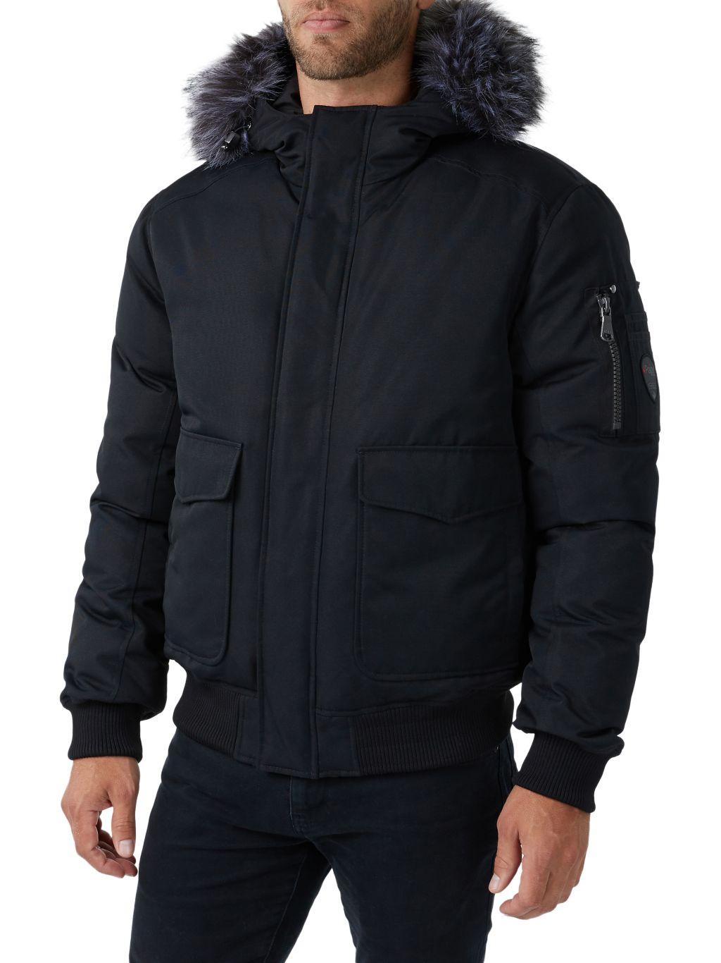 Pajar Canada Lucas Faux Fur-Trim Down Bomber Jacket