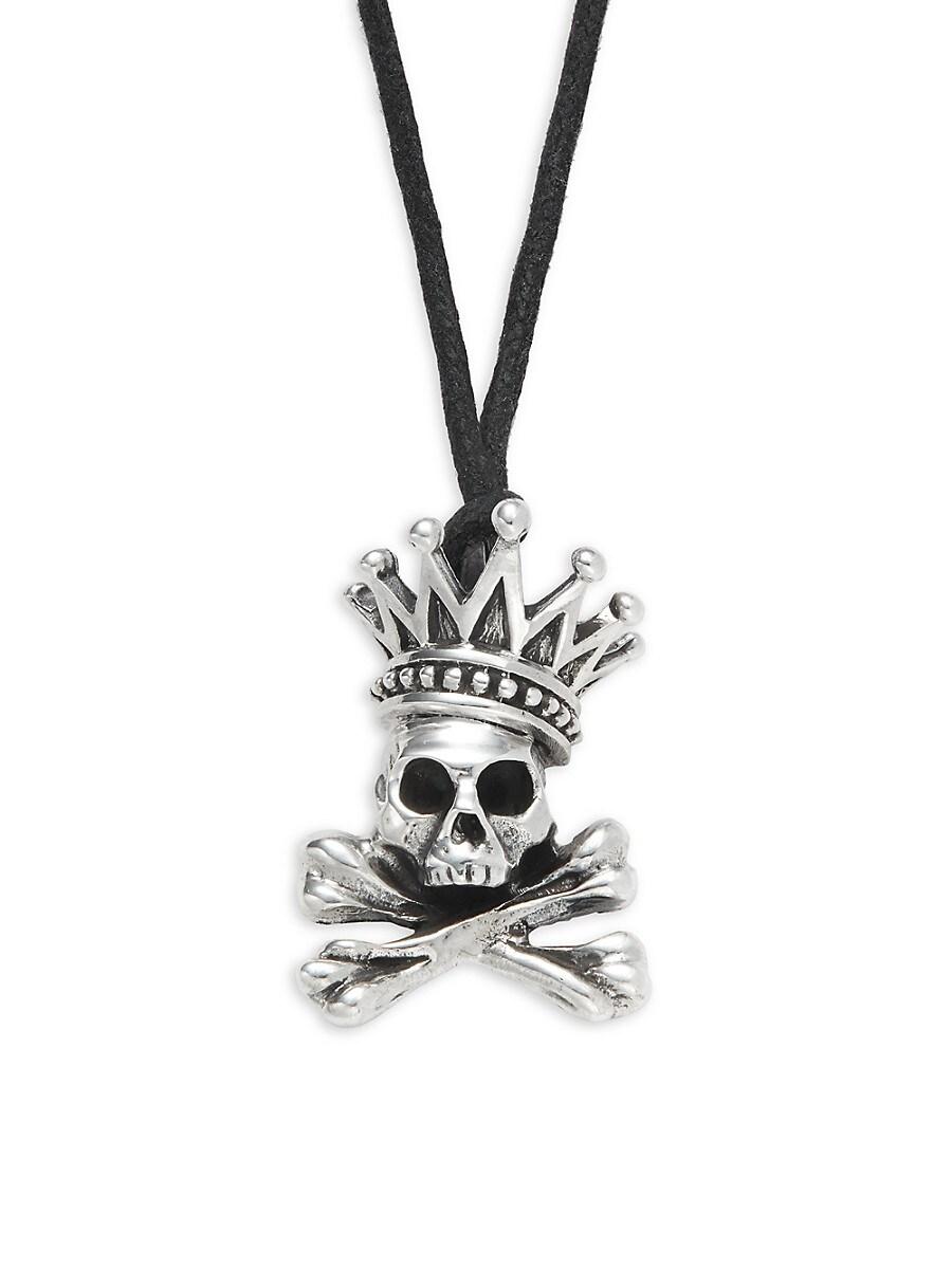 Men's Sterling Silver Crown & Skull Pendant Necklace