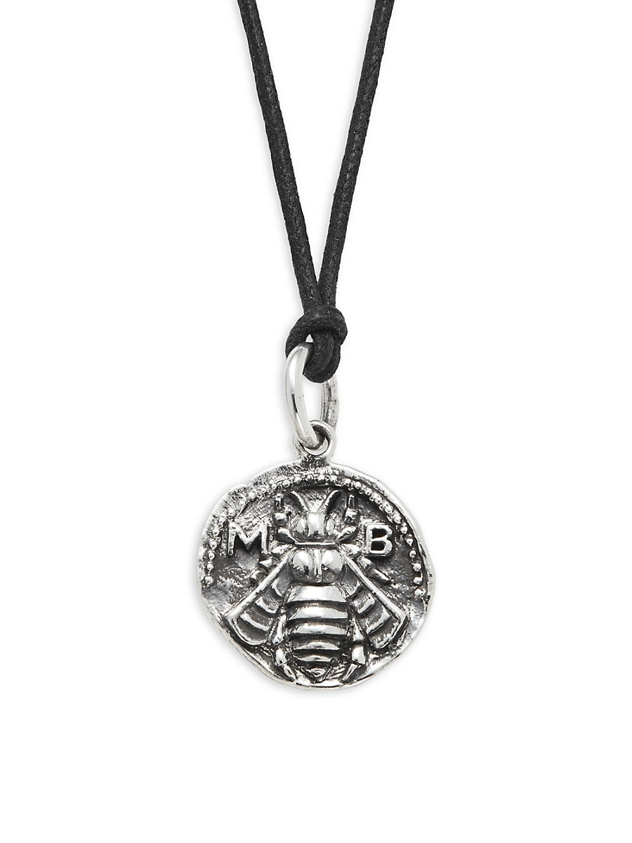 Men's Sterling Silver & Waxed Cord Bee Coin Pendant Necklace