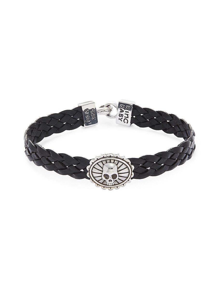 Men's Sterling Silver Leather Braided Skull Bracelet