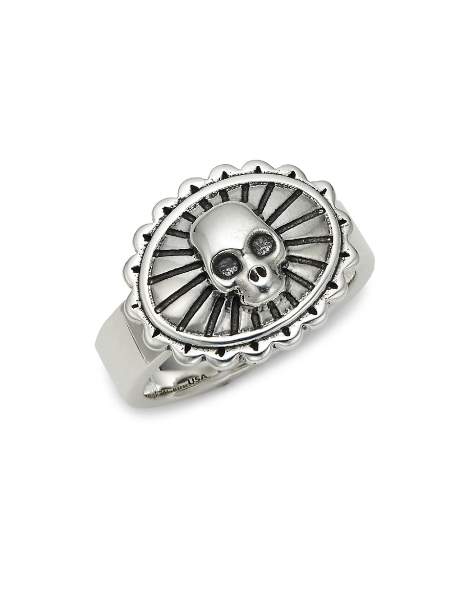Men's Sterling Silver Skull Concho Ring
